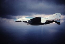 "The F-4 pictured was upgraded to an F-4S and lost at sea off Puerto Rico 27 Feb 1990-the crew survived. USMC F-4S Phantom. Puerto Rico. Control problems, Crew ejected. ""Feet Wet Off Virginia"", Photo Credit Dave Lengyel USNA/USMC."