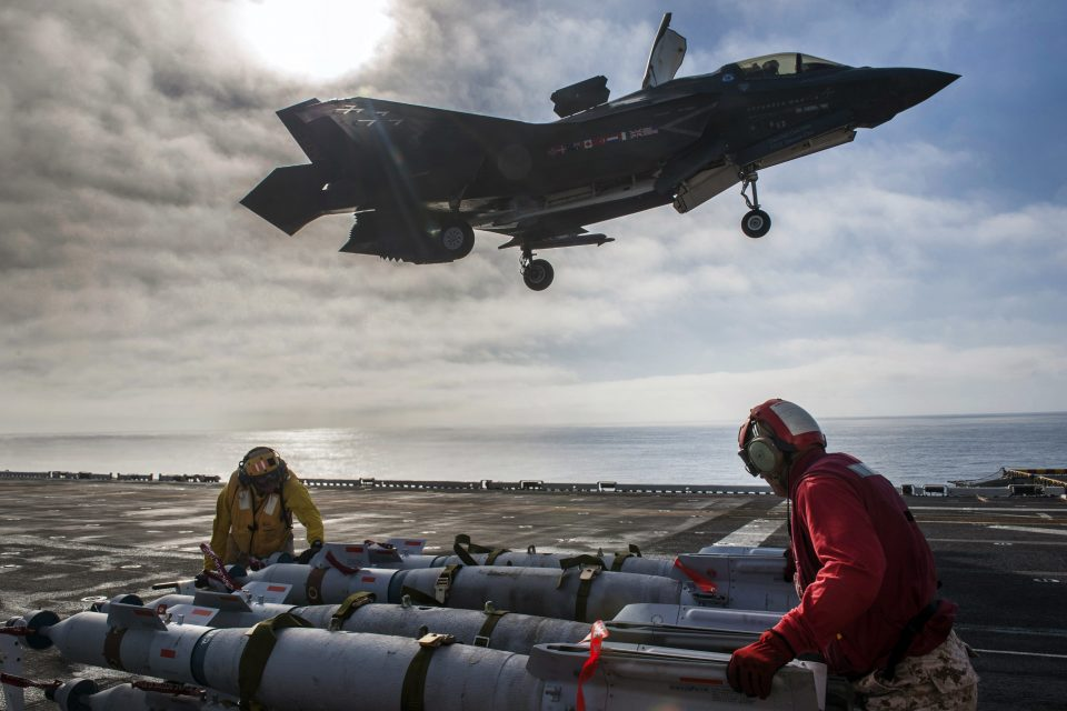The F-35B aboard the USS America with a ship optimized for ground force insertion support. This training is going on right now off of San Diego. Credit: USN